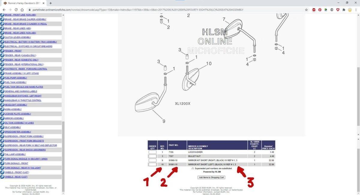 PartsFinder recherche de références Harley Davidson sur HD-Zone